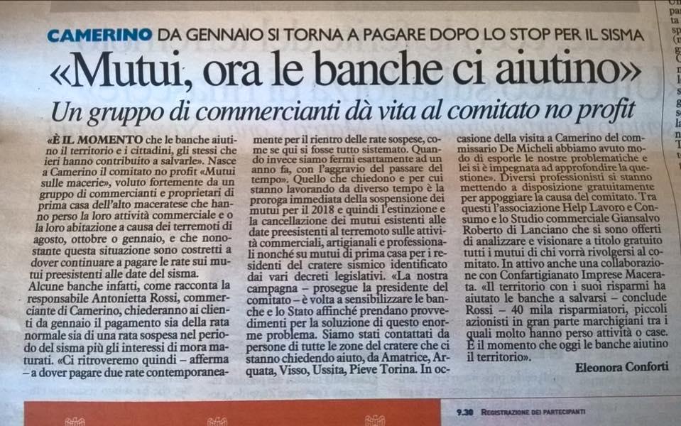 Articolo de Il Resto del Carlino: lo Studio Giansalvo offre la propria professionalità al Comitato Mutui Sulle Macerie
