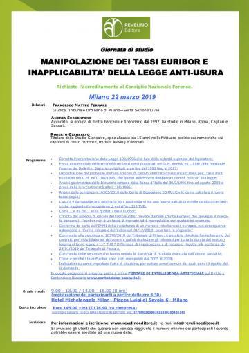 Manipolazione dei tassi Euribor e inapplicabilità della legge anti-usura
