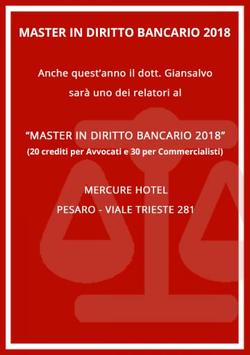 Dott. Giansalvo relatore al Master in diritto bancario 2018